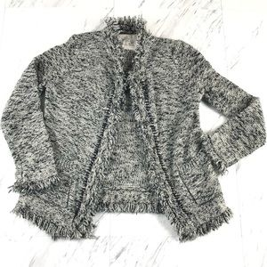 Anthro Fringe Knit Cardigan Sweater Open Front S
